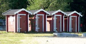 At my favourite place to swim in the sea - I love how the changing rooms have been made to match the local architecture - made of wood of course!